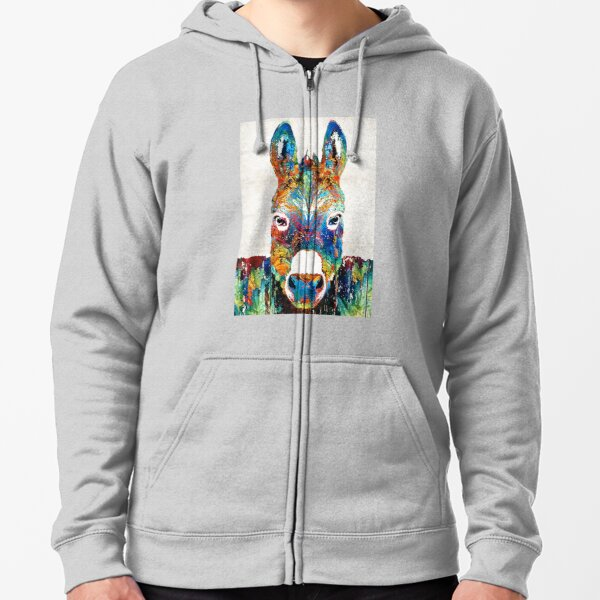 Colorful Donkey Art - Mr. Personality - By Sharon Cummings Zipped Hoodie