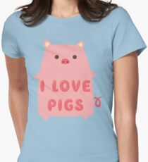 I Love Pigs Cute T Shirt Womens Fitted T-Shirt