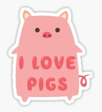 I Love Pigs Cute T Shirt Sticker