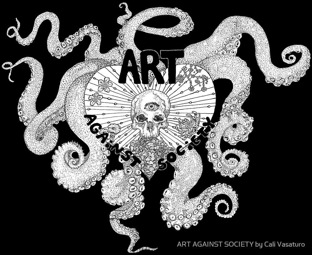 Art Against Society Tentacle Heart Skull logo WHITE Outline by ART AGAINST SOCIETY by Cali Vasaturo