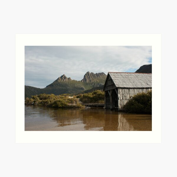 Towering Above - Dove Lake Boat Shed, Cradle Mountain Art Print