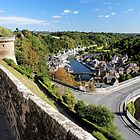 View over the viaduct, the River Rance and the Old Port of Dinan, Côtes-d'Armor, Brittany - France by Marilyn Harris