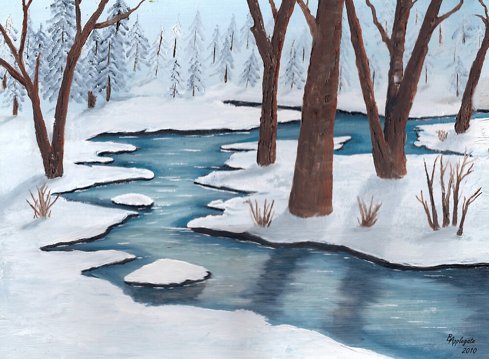 Quot Winter Creek Landscape Oil Painting Quot By Barbara Applegate Redbubble