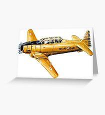 Yellow Plane Naive Art Greeting Card