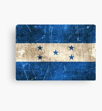 Vintage Aged and Scratched Honduras Flag Canvas Print