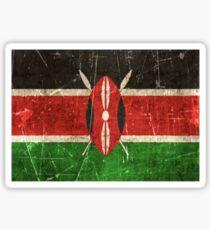 Vintage Aged and Scratched Kenyan Flag Sticker
