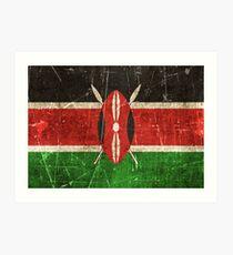 Vintage Aged and Scratched Kenyan Flag Art Print