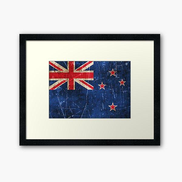 Vintage Aged and Scratched New Zealand Flag Framed Art Print