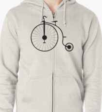 Sudadera con capucha y cremallera Bicicleta de rueda alta clásica de época Penny-farthing
