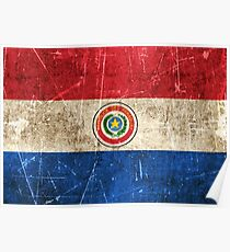Vintage Aged and Scratched Paraguay Flag Poster