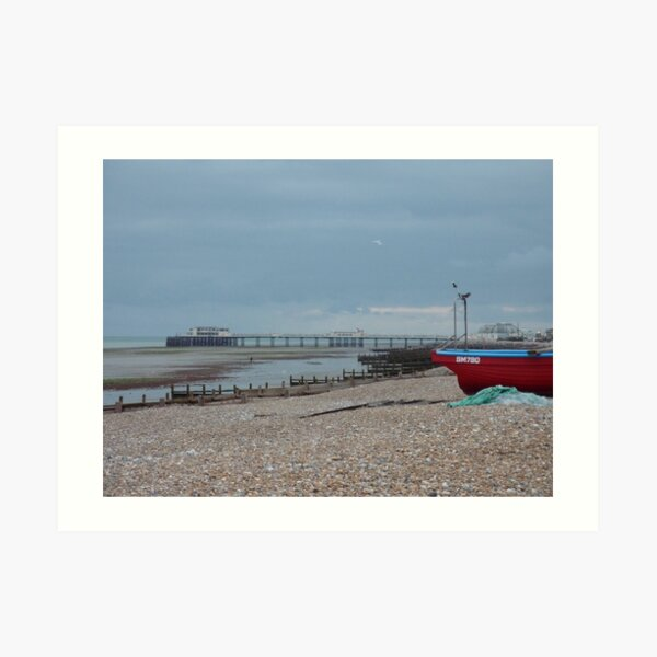 WORTHING BEACH AND PIER Art Print