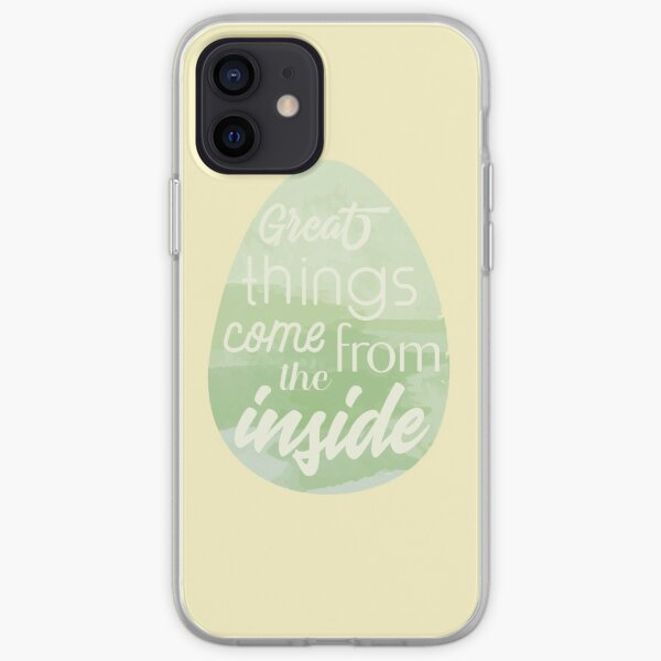 """Green Watercolored Easter Egg """"Great Things Come From The Inside"""" iPhone Soft Case"""