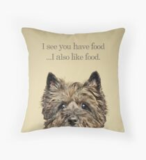 Funny and Hungry Cairn Terrier Throw Pillow