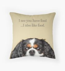 Funny and Hungry Cavalier King Charles Spaniel Throw Pillow
