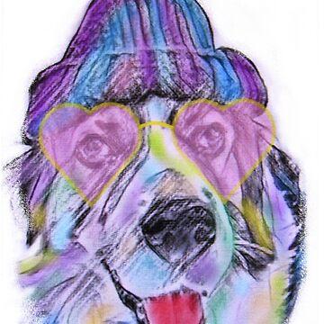 Hund mit Herzchen Brille von mwart