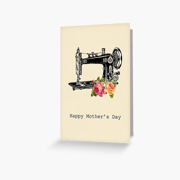 Vintage Sewing Machine - Mother's Day Card Greeting Card