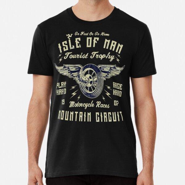 Isle Of Man TT Racing Vintage Biker Wings Wheel Tourist Trophy Bike Races Retro Graphic Premium T-Shirt