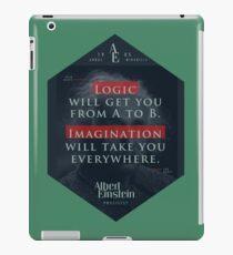 Vinilo o funda para iPad Cita de: Albert Einstein sobre lógica e imaginación - Camisetas, pósters, pegatinas y regalos
