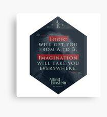 Lienzo metálico Cita de: Albert Einstein sobre lógica e imaginación - Camisetas, pósters, pegatinas y regalos