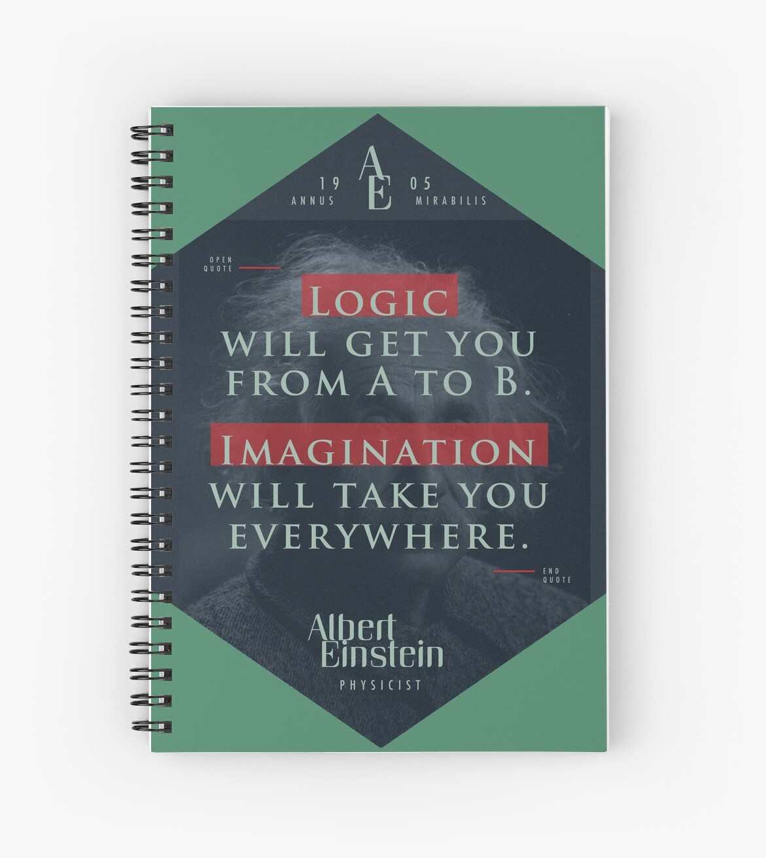 «Cita de: Albert Einstein sobre lógica e imaginación - Camisetas, pósters, pegatinas y regalos» de tasnim-saadon