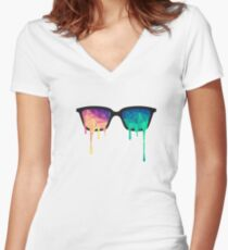 Abstract Polygon Multi Color Cubism Low Poly Triangle Design Women's Fitted V-Neck T-Shirt