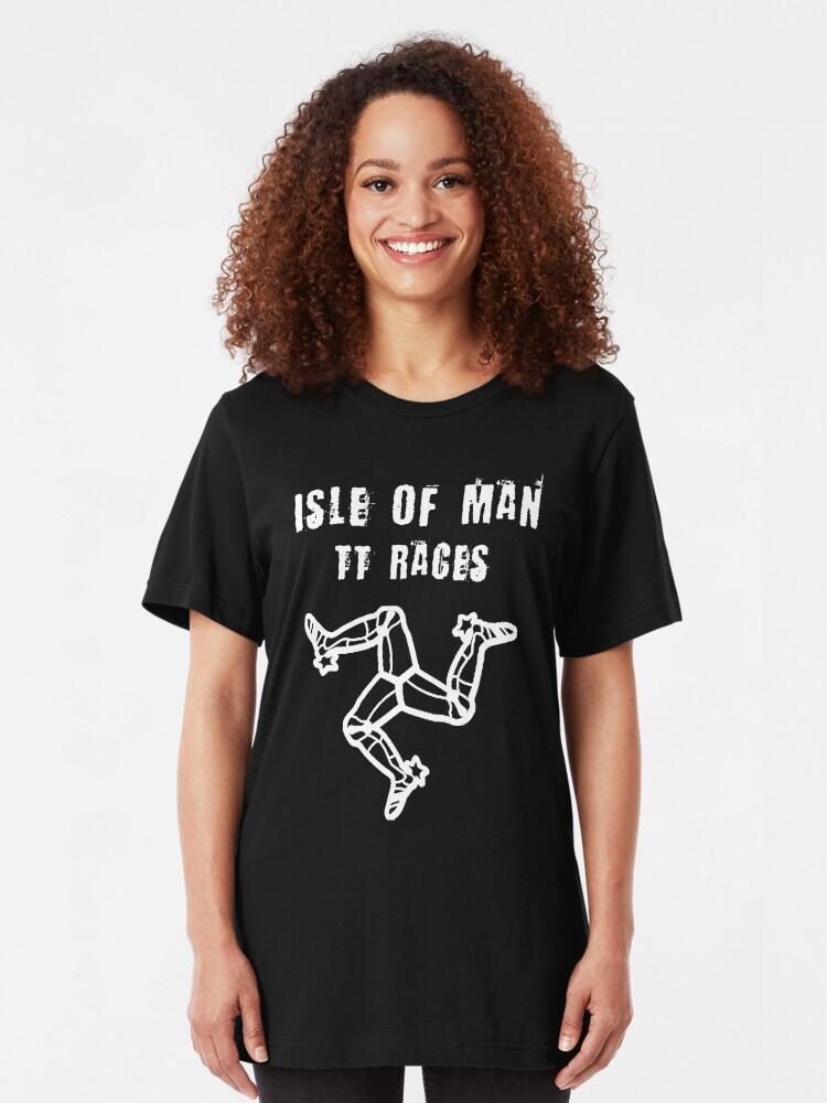 Alternate view of Isle Of Man TT Races 3 Legs Of Man Flag Vintage Retro Celtic Manx Racing Graphic Slim Fit T-Shirt