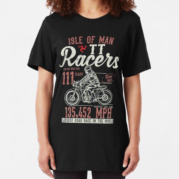 Isle Of Man TT Races Top Speed Racing 3 Legs Of Man Manx Flag Slim Fit T-Shirt