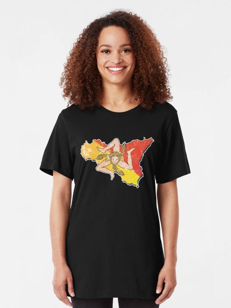 Alternate view of Sicily Flag Sicilian Trinacria Italian Pride Slim Fit T-Shirt