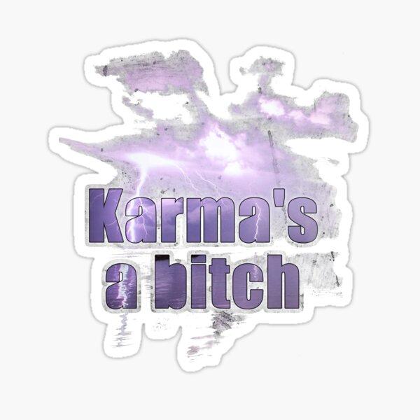 Karmas a bitch quote distressed Sticker