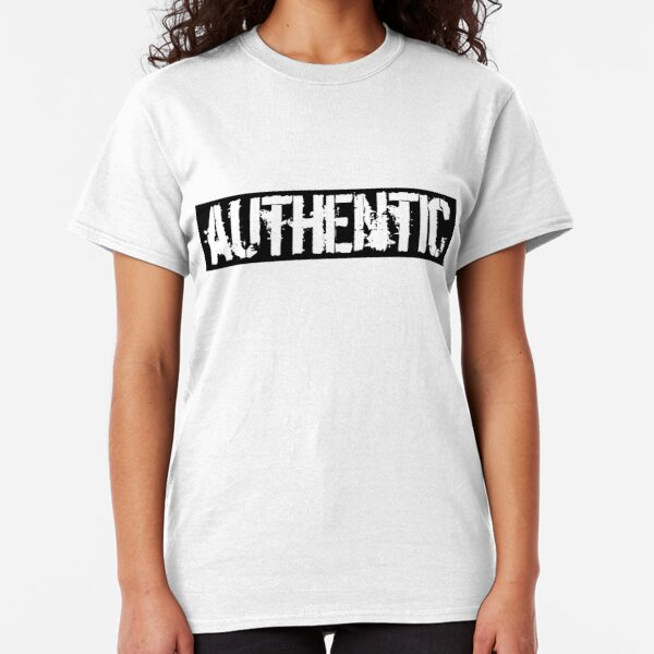 Authentic - white on black Classic T-Shirt