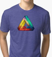 Abstract Multi Color Cubizm Painting Tri-blend T-Shirt