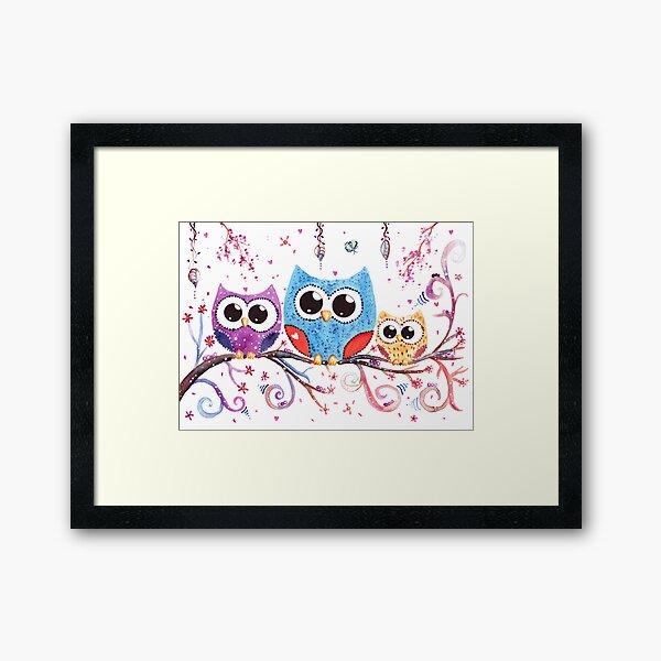 3 Little Owls Watercolor Art Framed Art Print