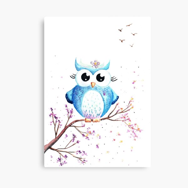 Cute Blue Owl Illustration Canvas Print