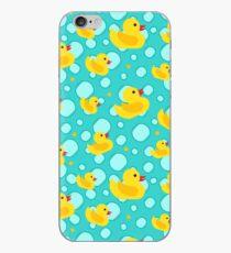 Niedliche Aqua Blue Teal Yellow Badezimmer-Gummienten und Blasen iPhone-Hülle & Cover