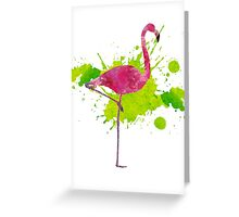 Paint Splatter Flamingo Greeting Card