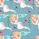 Watercolor background with beautiful cupid and red hearts. by TrishaMcmillan