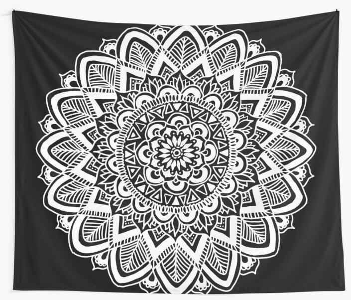 Black and White Boho Mandala by julieerindesign