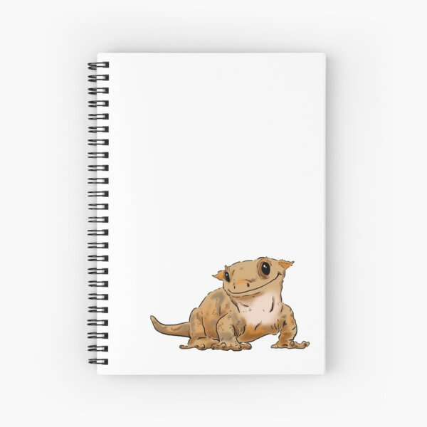 Smiling Crested Gecko, Cute Crested Gecko, Crestie Lover Spiral Notebook