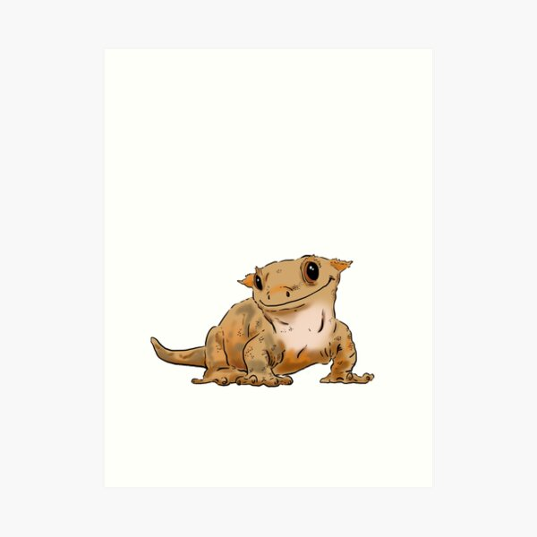Smiling Crested Gecko, Cute Crested Gecko, Crestie Lover Art Print