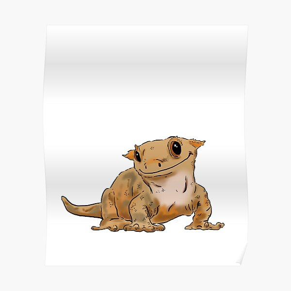 Smiling Crested Gecko, Cute Crested Gecko, Crestie Lover Poster
