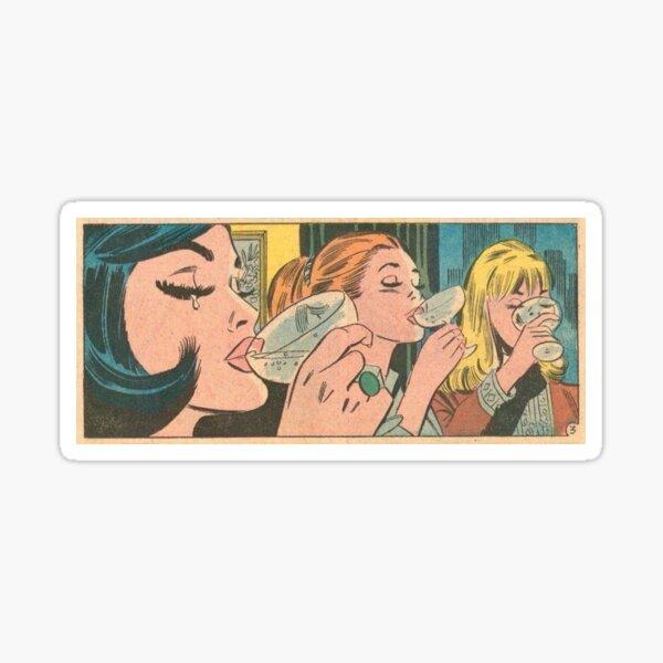 Girls Night Out Vintage Romance Comics, chica pinup cómica kawaii Pegatina