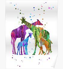 Giraffenfamilie, Giraffe, Aquarellgiraffe, Giraffen, Safari Poster