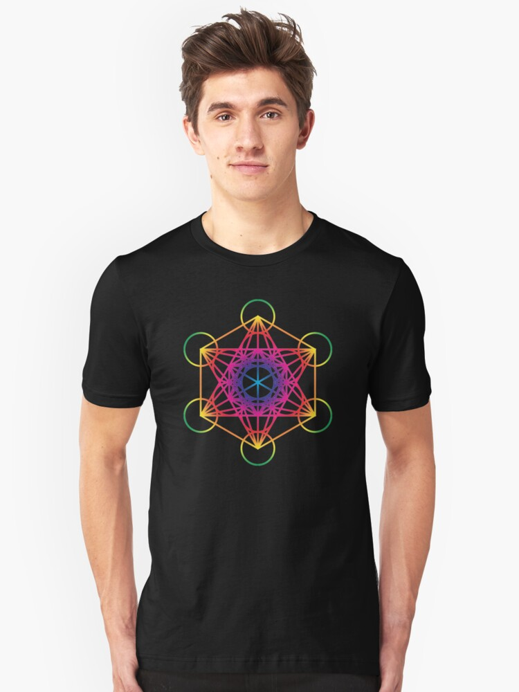 Alternate view of Sacred Geometry Geometric Mandala Metatrons Cube Flower Of Life Rainbow Slim Fit T-Shirt