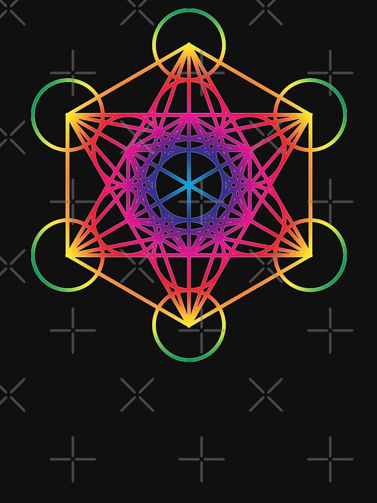 Sacred Geometry Geometric Mandala Metatrons Cube Flower Of Life Rainbow by thespottydogg