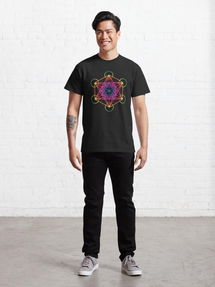Alternate view of Sacred Geometry Geometric Mandala Metatrons Cube Flower Of Life Rainbow Classic T-Shirt