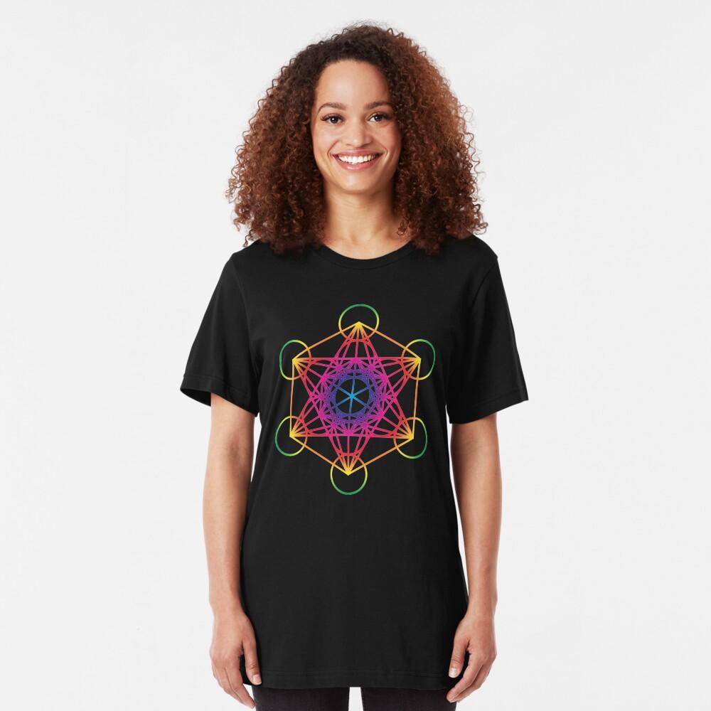 Sacred Geometry Geometric Mandala Metatrons Cube Flower Of Life Rainbow Slim Fit T-Shirt