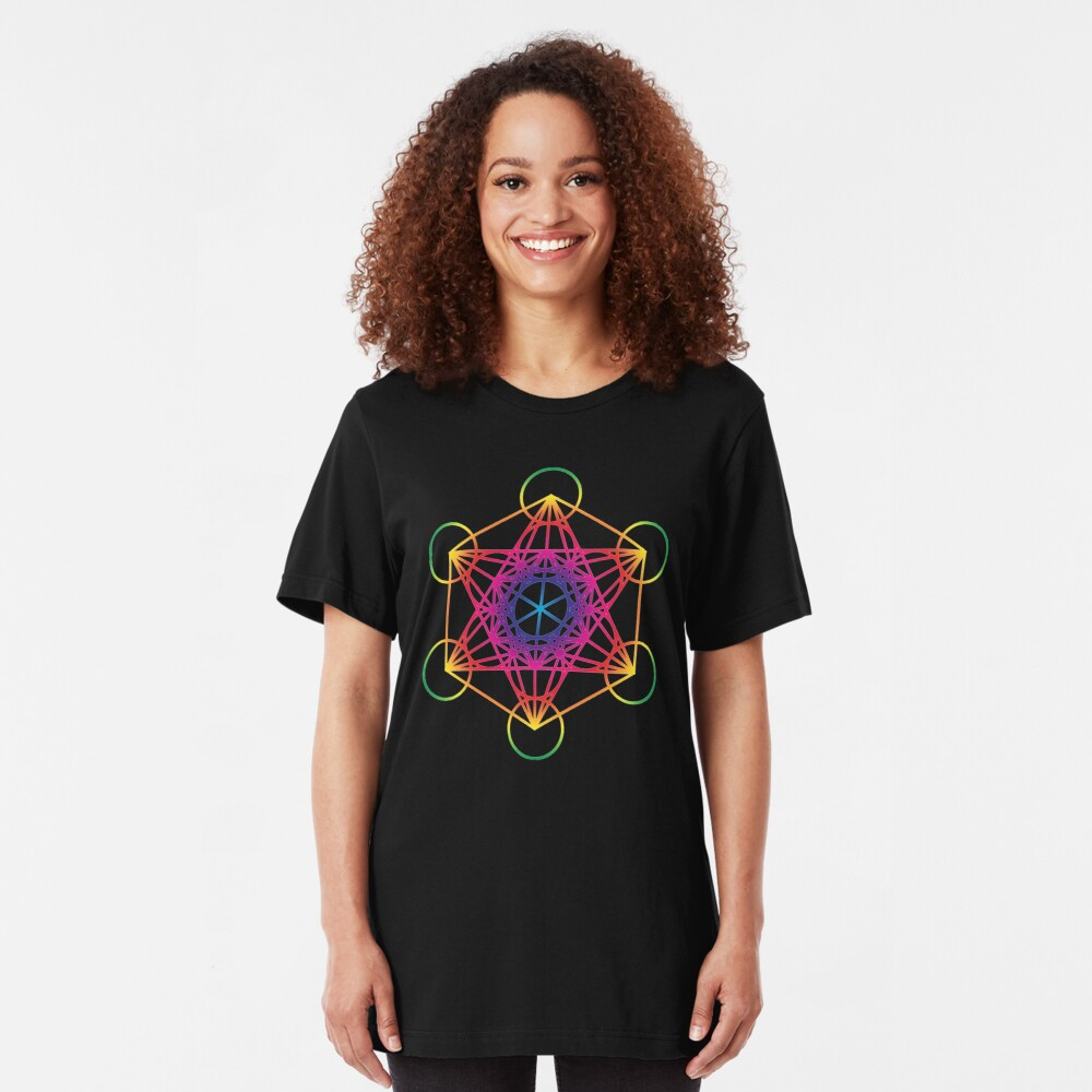 Sacred Geometry Geometric Mandala Metatrons Cube Flower Of Life Rainbow Slim Fit T-Shirt