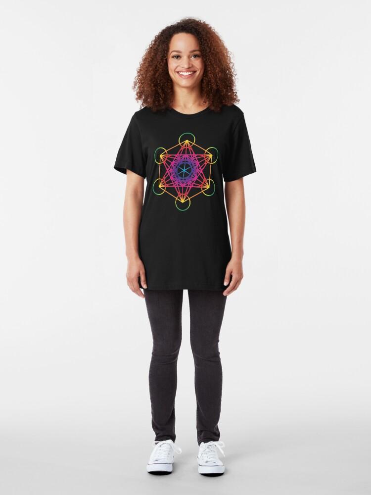 Alternate view of Sacred Geometry Geometric Mandala Metatrons Cube Flower Of Life Rainbow Slim Fit T-Shirt