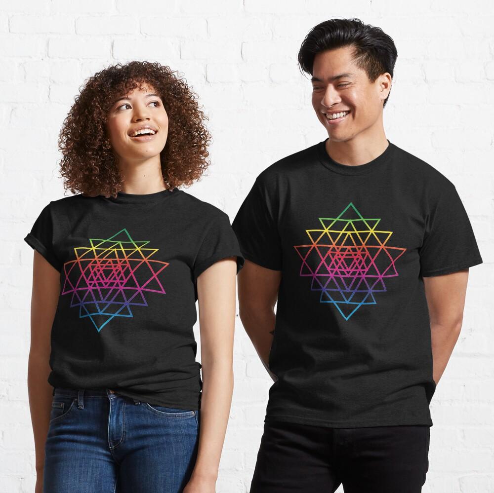 Sacred Geometry Geometric Mandala Flower Of Life Rainbow Sri Yantra Star Classic T-Shirt