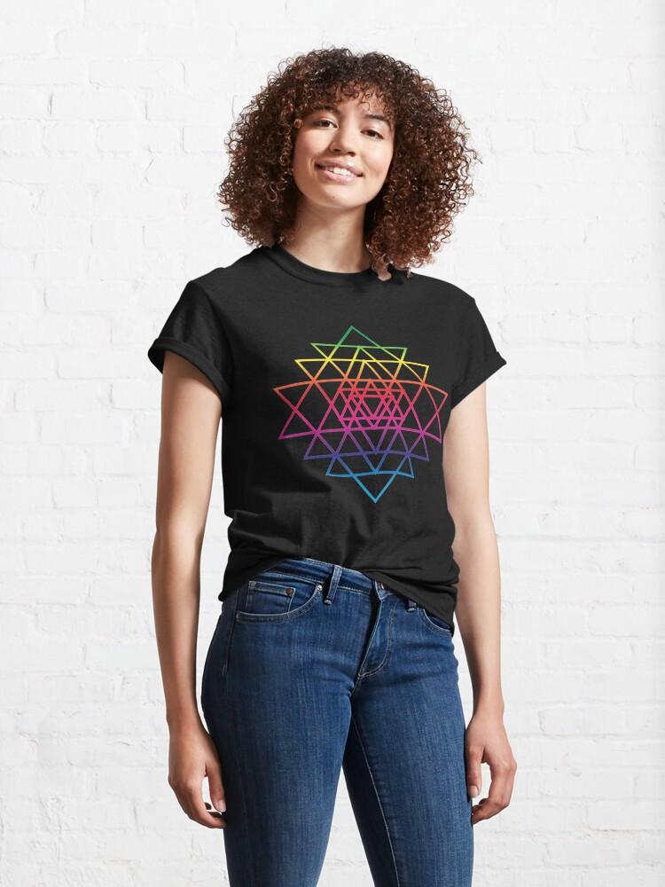 Alternate view of Sacred Geometry Geometric Mandala Flower Of Life Rainbow Sri Yantra Star Classic T-Shirt